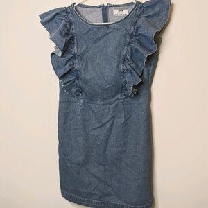 Bershka Denim Ruffled Mini Dress